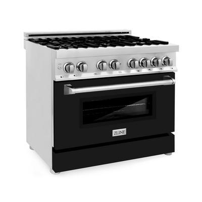 ZLINE 36 in. Professional Dual Fuel Range with DuraSnow® Finish Door (RA-SN-36) - ZLINE Kitchen and Bath RA-SN-36