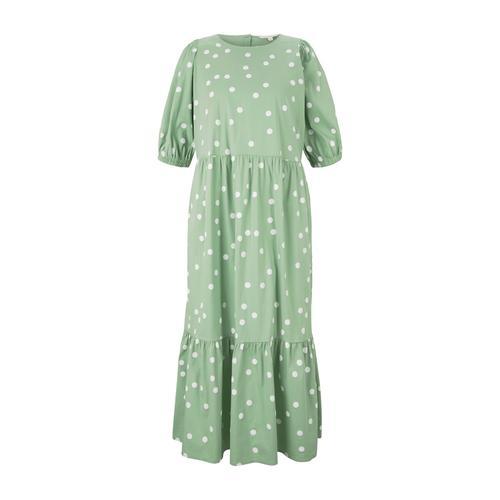 TOM TAILOR DENIM Damen gepunktetes Midi Kleid, grün, Gr.XXL