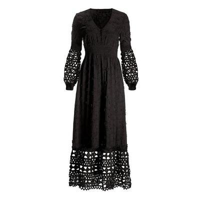 Boston Proper - Mixed Media Lace Dress - Black - X Large