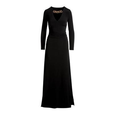 Boston Proper - Chain Neckline Ruched Maxi Dress - Black - X Small