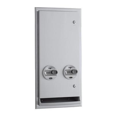 Bobrick B-3706C Semi Recessed Sanitary Napkin/Tampon Dispenser - Free Vend, Stainless Steel