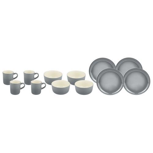 ERNESTO® Geschirr Set, 12-teilig (grau)