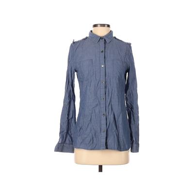 Quiksilver Long Sleeve Button Down Shirt: Blue Solid Tops - Size Small