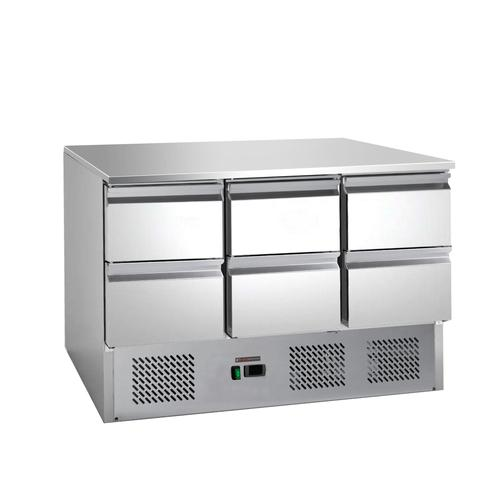 Saladette / Salattisch / Salatheke / Salatbar / Kühltisch mit 6 Schubladen 1,365 x 0,7 m