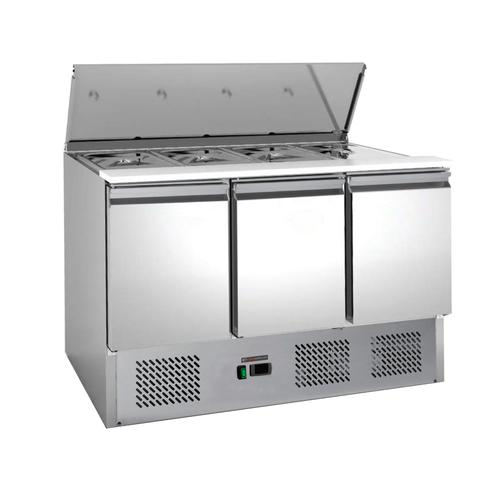 Saladette / Salattisch / Salatheke / Salatbar / Kühltisch mit 3 Türen + 368 Liter Füllvolumen - IDEAL