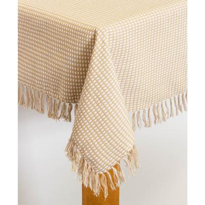 """Wide Width Homespun Check Woven Tablecloth by LINTEX LINENS in Ecru (Size 60"""" W 120""""L)"""