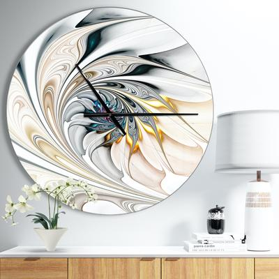 White Stained Glass Floral Art Modern Wall Clock by Designart in White