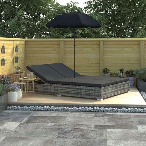 Outdoor-Loungebett mit Sonnenschirm Poly Rattan Grau - Grau