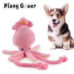 Jouet en forme de calmar mignon pour petit chien, jouet en peluche BB, jouet en corde rose à mâcher