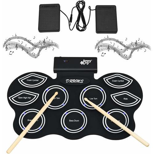 Elektronisches Schlagzeug mit LEDs, Elektronische Trommel mit Bluetooth-Funktion, E-Drum