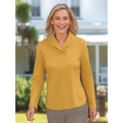 Women's Shawl Collar Top, Fields Of Gold P-M