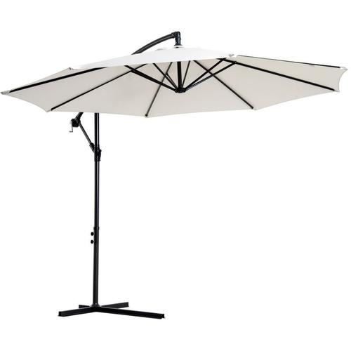 Outsunny® Balkon Sonnenschirm abnehmbar Ampelschirm Kurbelschirm mit Handkurbel Creme - creme