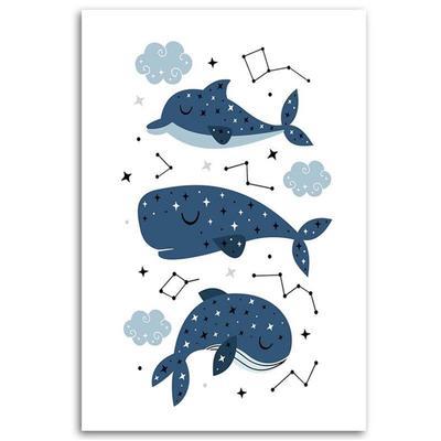 Tableau enfant merry whales bleu...