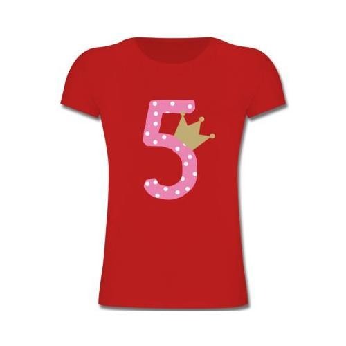 Kindergeburtstag Geburtstag Geschenk 5. Geburtstag Krone Mädchen T-Shirts Kinder rot Kinder