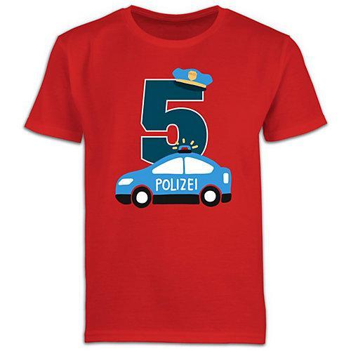 Kindergeburtstag Geburtstag Geschenk Polizei Geburtstag 5 T-Shirts Kinder rot Kinder