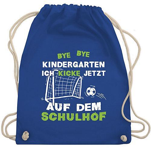 Schulkind Einschulung und Schulanfang Geschenke Bye Bye Kindergarten Einschulung Fußball Turnbeutel Jungen blau Kinder