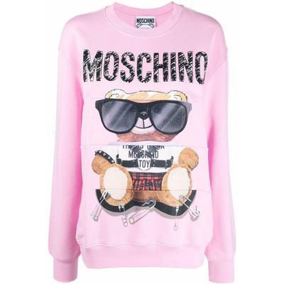 Baby Pink Cotton Teddy Bear Logo-print Sweatshirt - Pink - Moschino Sweats