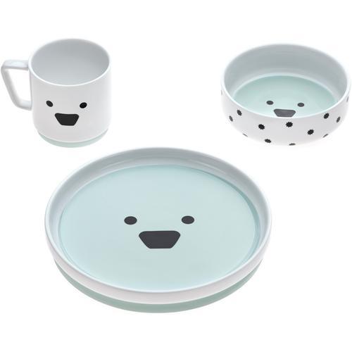 LÄSSIG Kindergeschirr-Set Little Chums, Dog, (Set, 3 tlg.), rutschfest blau Baby Kindergeschirr Geschirr, Porzellan Tischaccessoires Haushaltswaren