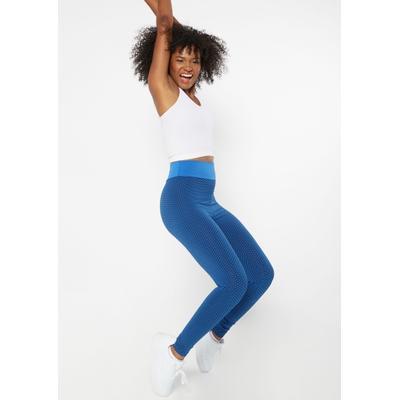 Rue21 Womens Blue Ruched Back Mesh Honeycomb Leggings - Size S
