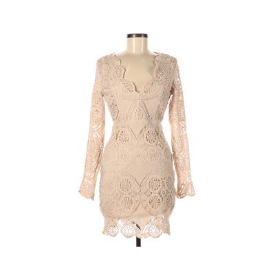 Modern Vintage Cocktail Dress - Mini: Tan Solid Dresses - Used - Size Medium