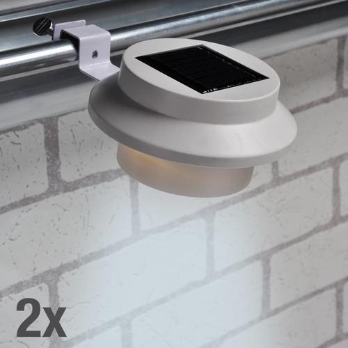 HI LED-Solar-Dachrinnen-Leuchten-Set 2 Stk. Weiß