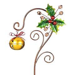 Evergreen Garden Stakes - Gold Jingle Bell Garden Stake