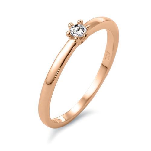 Solitär Ring 750/18 K Rotgold Diamant 0.07 ct