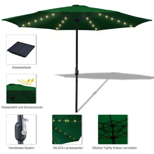 wolketon 3.5m Sonnenschirm Marktschirm mit Handkurbel UV30+ Outdoor-Schirm Terrassen mit LED Solar