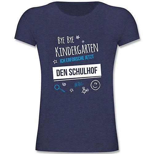 Schulkind Einschulung und Schulanfang Geschenke Bye Bye Kindergarten Einschulung Schulhof T-Shirts Kinder dunkelblau Kinder