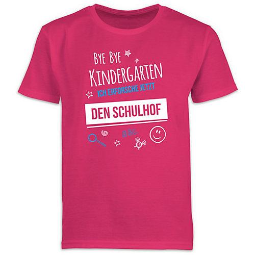 Schulkind Einschulung und Schulanfang Geschenke Bye Bye Kindergarten Einschulung Schulhof T-Shirts Kinder fuchsia Kinder