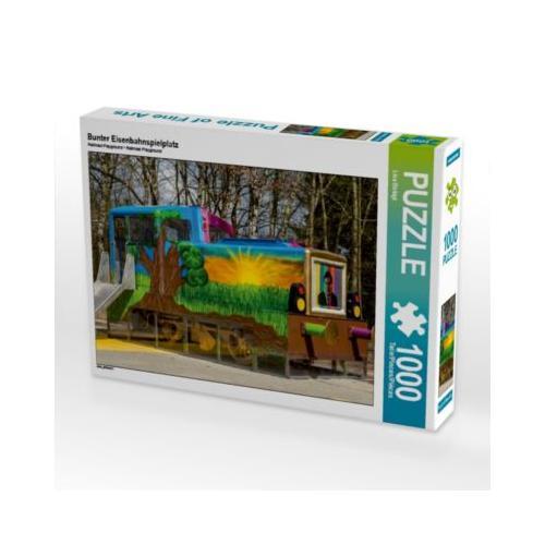 Bunter Eisenbahnspielplatz Foto-Puzzle Bild von Lisa Birkigt Puzzle