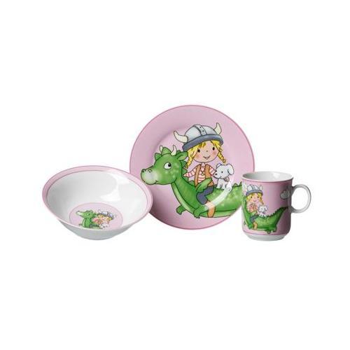 DRACHE Kindergeschirr Set 3-teilig pink Kindergeschirrsets bunt