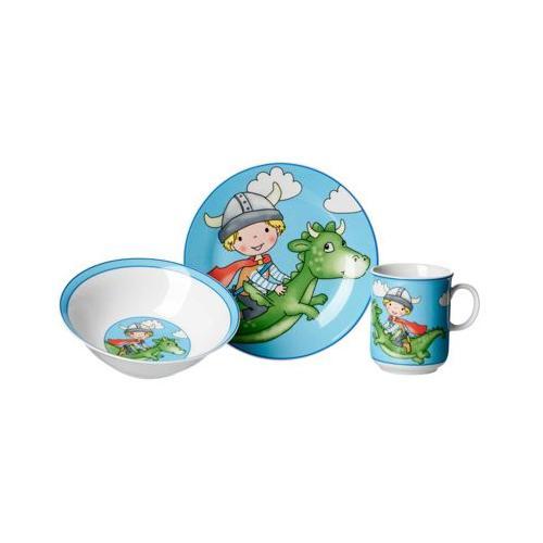 DRACHE Kindergeschirr Set 3-teilig blau Kindergeschirrsets bunt