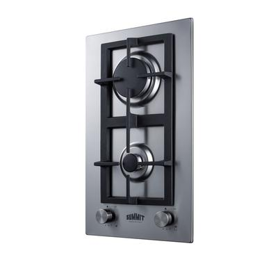 """""""12"""""""" Wide 2-Burner Gas Cooktop In Stainless Steel - Summit Appliance GCJ2SS"""""""