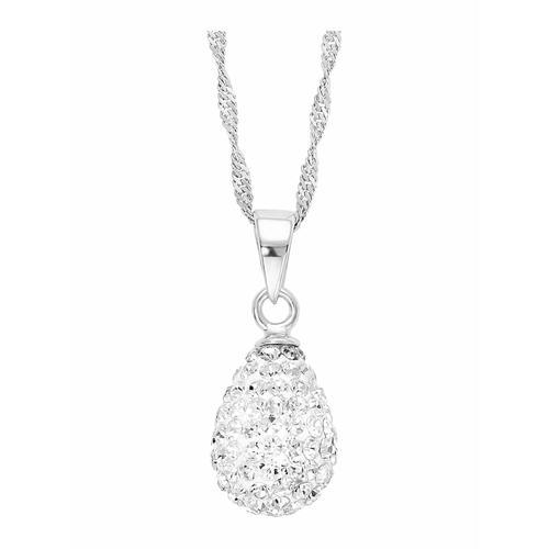 Kette mit Anhänger für Damen, Sterling Silber 925, Kristallglas Tropfen amor Silber