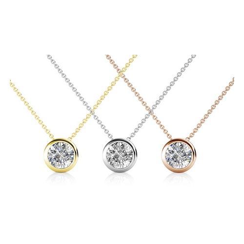 Halskette mit Kristall-Anhänger: 2/ Silber + Gold