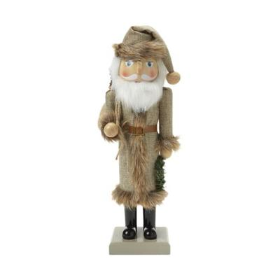 Joyland Brown 14 Inch Fur Coat Nutcracker