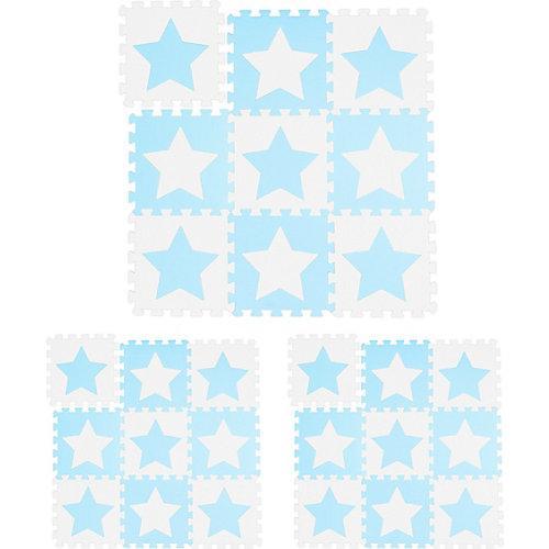 27x Puzzlematte Sterne Krabbelmatte Bodenmatte Bodenpuzzle weiß-blau Kindermatte weiß-kombi