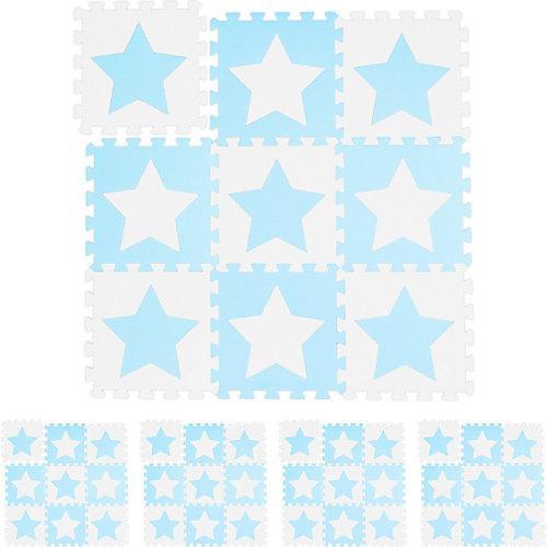45 x Puzzlematte Kinderspielmatte Krabbelmatte Bodenmatte Sterne weiß-blau weiß-kombi