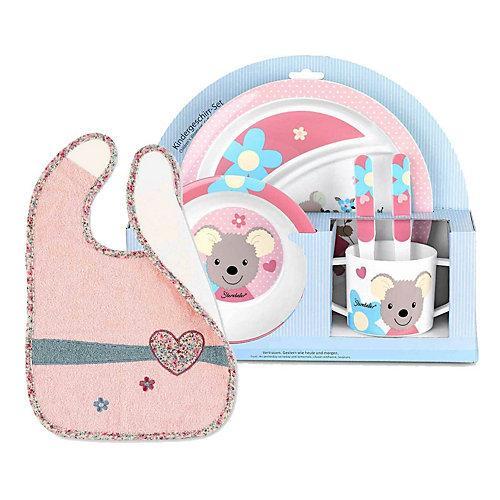 Mabel Herz Kindergeschirr mit Lätzchen 6-tlg Kindergeschirrsets bunt