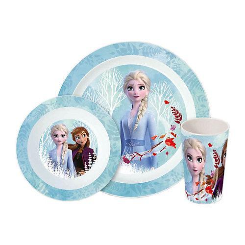 Frozen Kinder Frühstücksset 3-teilig Kindergeschirrsets blau