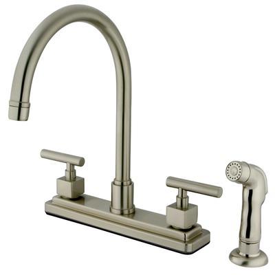 Kingston Brass KS8798CQL Claremont Centerset Kitchen Faucet, Brushed Nickel - Kingston Brass KS8798CQL