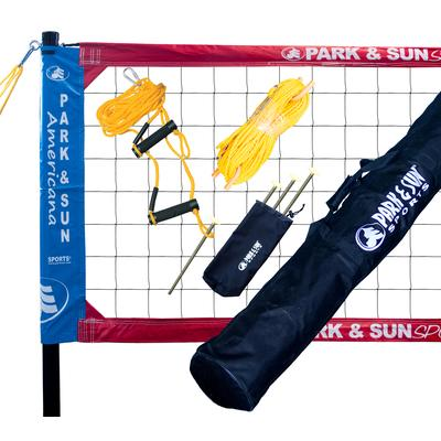 Park & Sun Spectrum Classic Professional Level Volleyball Net System - Re-Packaged Red/White/Blue