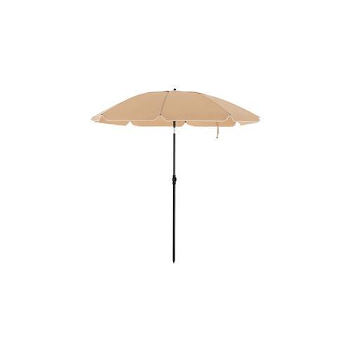 UAC Sonnenschirm,Ø 2, Gartenschirm, UV-Schutz bis UPF 50+, knickbar, tragbar, Schirmrippen aus Glasfaser, mit Transporttasche Taupe