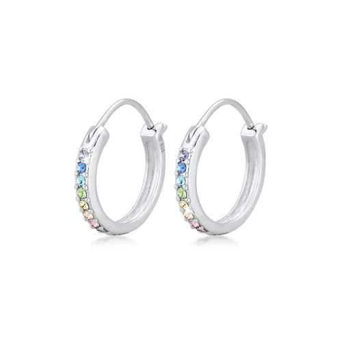 Ohrringe Creole Regenbogen Kristalle 925 Silber Elli Silber