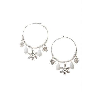 Boston Proper - Snowflake Embellished Hoop Earrings - Silver - One Size