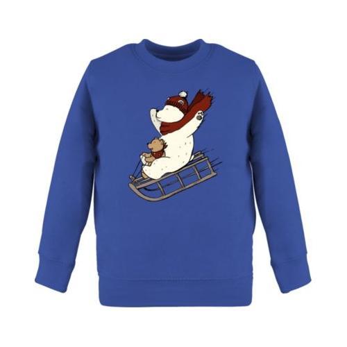 Weihnachten Kind Bären fahren Schlitten Sweatshirts Kinder blau Kleinkinder