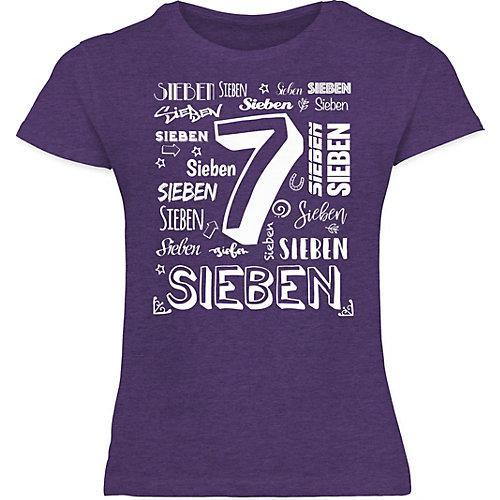 Kindergeburtstag Geburtstag Geschenk 7. Geburtstag Zahlen T-Shirts Kinder lila Kinder