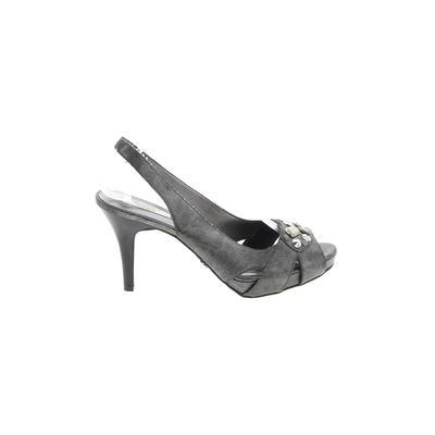 Simply Vera Vera Wang Heels: Gray Solid Shoes - Size 9 1/2
