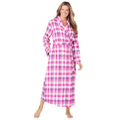 Plus Size Women's Long Flannel Robe by Dreams & Co. in Fresh Berry Plaid (Size M)